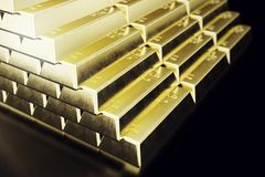 Stack close-up Gold Bars, weight of Gold Bars 1000 grams Concept of wealth and reserve. Concept of success in business. And finance. 3d rendering Stock Photos