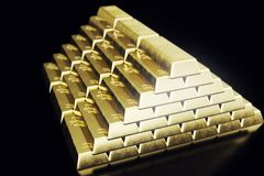 Stack close-up Gold Bars, weight of Gold Bars 1000 grams Concept of wealth and reserve. Concept of success in business. And finance. 3d rendering Stock Images