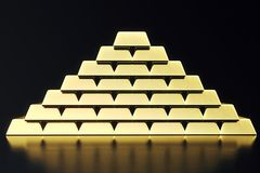 Stack close-up Gold Bars, weight of Gold Bars 1000 grams Concept of wealth and reserve. Concept of success in business. And finance. 3d rendering Stock Image