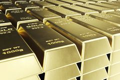 Stack close-up Gold Bars, weight of Gold Bars 1000 grams Concept of wealth and reserve. Concept of success in business. And finance. 3d rendering Stock Photo