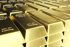 Stack close-up Gold Bars, weight of Gold Bars 1000 grams Concept of wealth and reserve. Concept of success in business. And finance. 3d rendering Royalty Free Stock Photography
