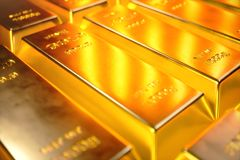 Stack Close-up Gold Bars, weight of Gold Bars 1000 grams Concept of wealth and reserve. Concept of success in business. And finance. 3D illustration Stock Photo