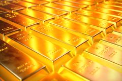 Stack Close-up Gold Bars, weight of Gold Bars 1000 grams Concept of wealth and reserve. Concept of success in business. And finance. 3D illustration Stock Images