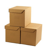 Stack of closed cardboard boxes Stock Photography