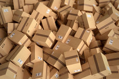 Stack of closed cardboard boxes. 3D Rendering Royalty Free Stock Photography