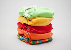 Stack of cloth diapers different colors Royalty Free Stock Image