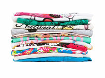 Stack of clothes. Stack of colorful clothes isolated on white Stock Image