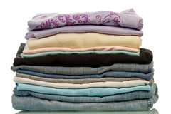 Stack from clothes isolated Stock Photo