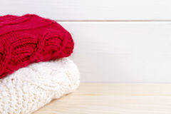 Stack of clothes from knitted Royalty Free Stock Photography