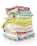 Stack clothes. On white background Stock Images