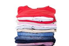 Stack of clothing. Isolated on white Stock Photo