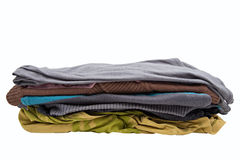 Stack of clothing isolated on white Stock Photo