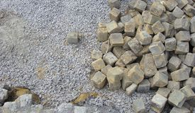 Stack of cobble stone on a construction site Royalty Free Stock Photos