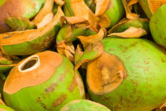A stack of coco nuts. Already used coco nuts on a pile Royalty Free Stock Images
