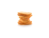 Stack of coconut crackers on white Royalty Free Stock Photography