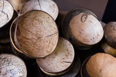 Stack of coconut shell. With texture stock photos
