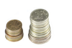 Stack of coin on white Stock Images