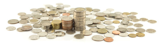 Stack of coin on white Royalty Free Stock Photo