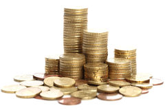 Stack of Coins. A stack of coins on a white background Royalty Free Stock Photo