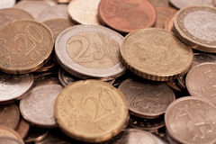 Stack of coins. Stack of golden coins close up Royalty Free Stock Photos