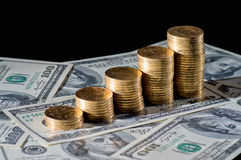 Stack of coins. On dollars Stock Images