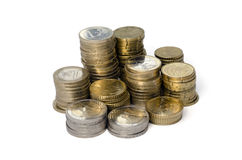 Stack of Coins. Golden coins  on white background Royalty Free Stock Photos