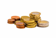 Stack of coins. Isolated on white background royalty free stock photography