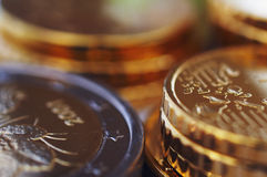 Stack of coins. Stack of uncirculated euro coins Stock Photography