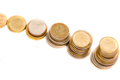 Stack of coins arranged like steps Stock Image