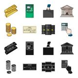 A stack of coins, a bank check, a calculator, black gold. Money and finance set collection icons in black,cartoon style. Vector symbol stock illustration Royalty Free Stock Photos