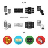 A stack of coins, a bank check, a calculator, black gold. Money and finance set collection icons in black, flat. Monochrome style vector symbol stock Stock Photography