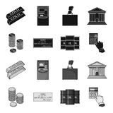 A stack of coins, a bank check, a calculator, black gold. Money and finance set collection icons in black,monochrome. Style vector symbol stock illustration Stock Images