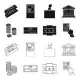 A stack of coins, a bank check, a calculator, black gold. Money and finance set collection icons in black,outline style. Vector symbol stock illustration Royalty Free Stock Photos