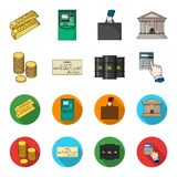A stack of coins, a bank check, a calculator, black gold. Money and finance set collection icons in cartoon,flat style. Vector symbol stock illustration Royalty Free Stock Photography