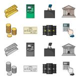 A stack of coins, a bank check, a calculator, black gold. Money and finance set collection icons in cartoon,monochrome. Style vector symbol stock illustration Royalty Free Stock Photo