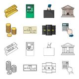 A stack of coins, a bank check, a calculator, black gold. Money and finance set collection icons in cartoon,outline. Style vector symbol stock illustration Stock Photography