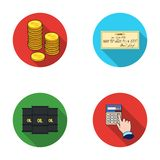 A stack of coins, a bank check, a calculator, black gold. Money and finance set collection icons in flat style vector. Symbol stock illustration Royalty Free Stock Image