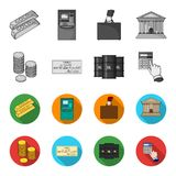 A stack of coins, a bank check, a calculator, black gold. Money and finance set collection icons in monochrome,flat. Style vector symbol stock illustration Stock Images