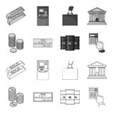 A stack of coins, a bank check, a calculator, black gold. Money and finance set collection icons in outline,monochrome. Style vector symbol stock illustration Stock Images