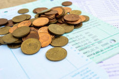 Stack of coins on bankbook2. Stack of coins on bankbook saving Stock Image