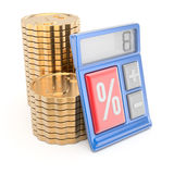 Stack of coins and calculator Stock Photography