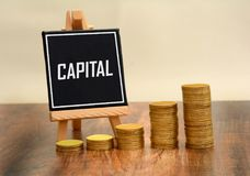 Stack of Coins with Capital sign - business money concept.  Royalty Free Stock Image