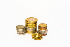 Stack of coins of the countries of the European Union  Macro Stock Photography
