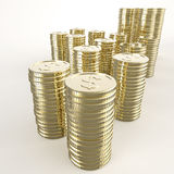 Stack of coins dollar sign 3d Royalty Free Stock Image