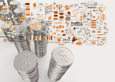 Stack of coins dollar sign 3d Royalty Free Stock Images