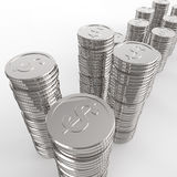 Stack of coins dollar sign 3d Stock Images