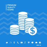 Stack of coins with dollar symbol royalty free illustration
