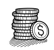 Stack of Coins Doodle (Dollar) Royalty Free Stock Image