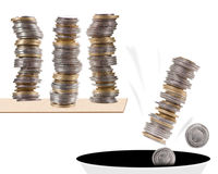 Stack of coins falling Royalty Free Stock Photo