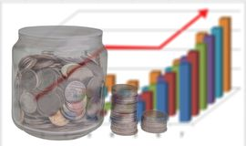 Stack of coins and growing graph. Stack of coins and growing graph,  business finance concept Royalty Free Stock Photos